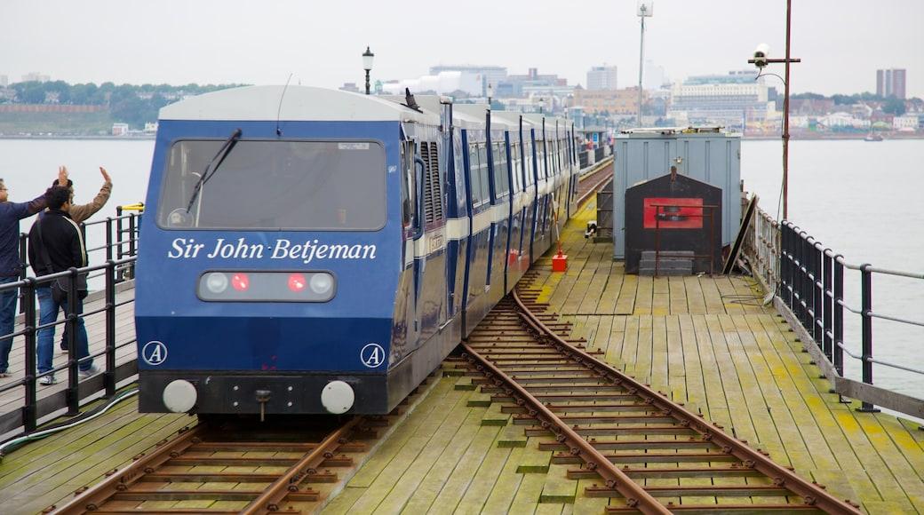 Southend Pier ofreciendo vistas generales de la costa y artículos de ferrocarril