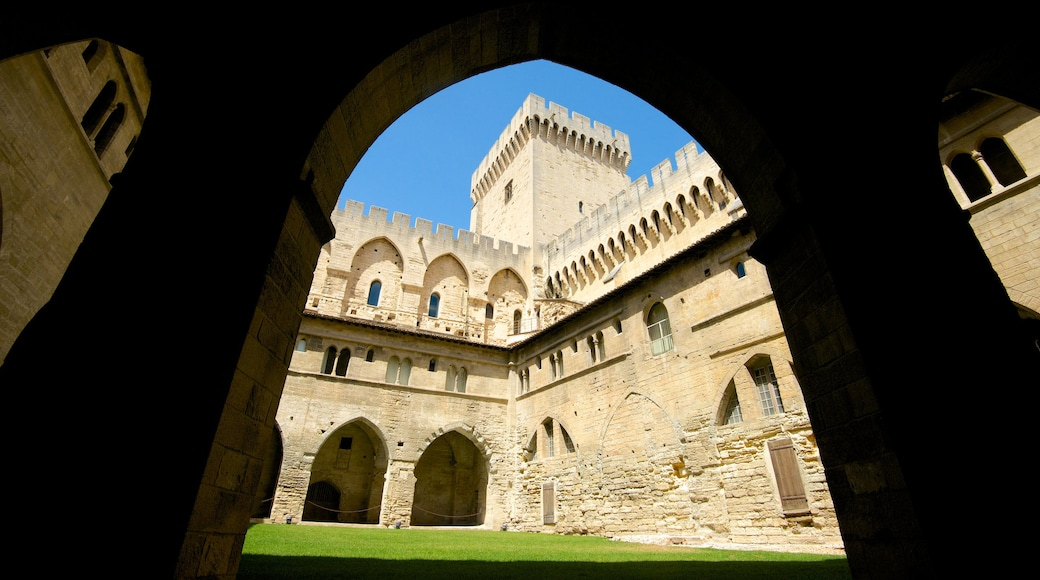 Palais des Papes showing heritage architecture and a castle