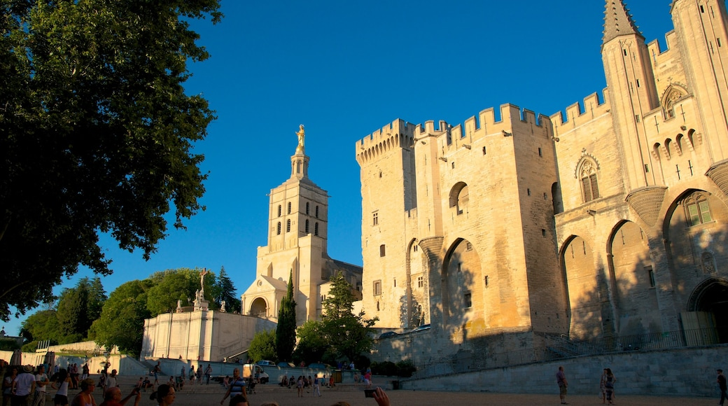 Palais des Papes which includes a square or plaza, heritage architecture and château or palace