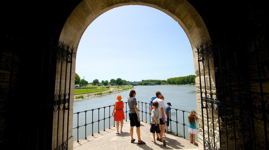 Pont Saint-Bénézet welches beinhaltet Ansichten, Fluss oder Bach und historische Architektur