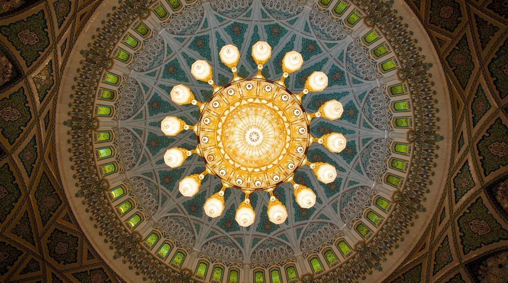 Oman welches beinhaltet Innenansichten, religiöse Elemente und Moschee