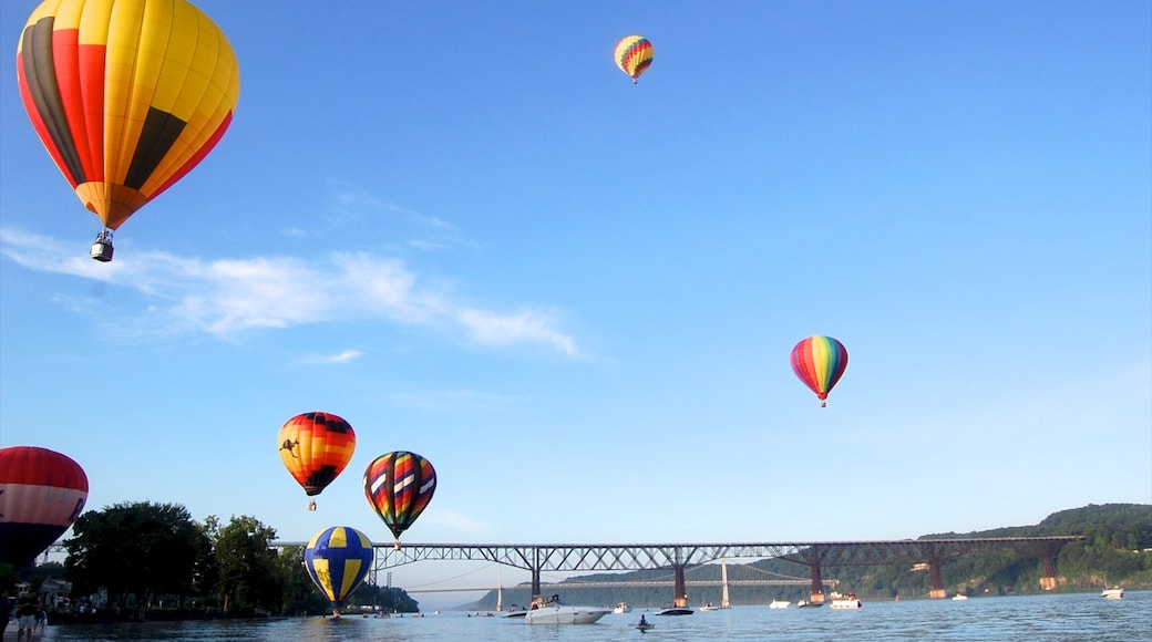 Poughkeepsie showing a river or creek, a bridge and ballooning