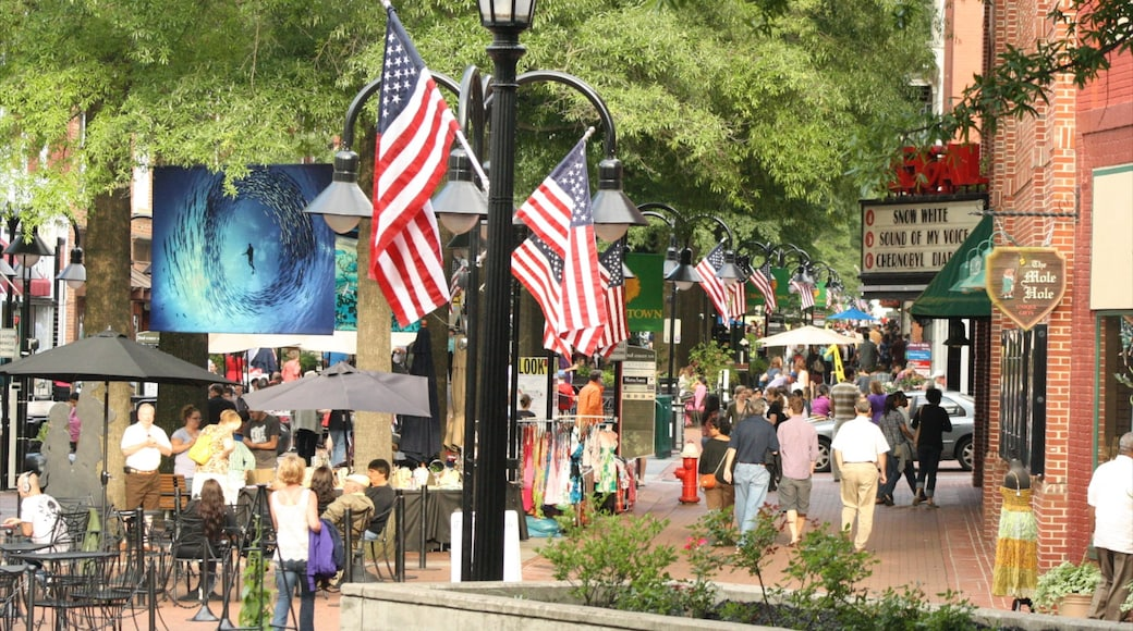 Charlottesville showing outdoor eating and a city as well as a large group of people
