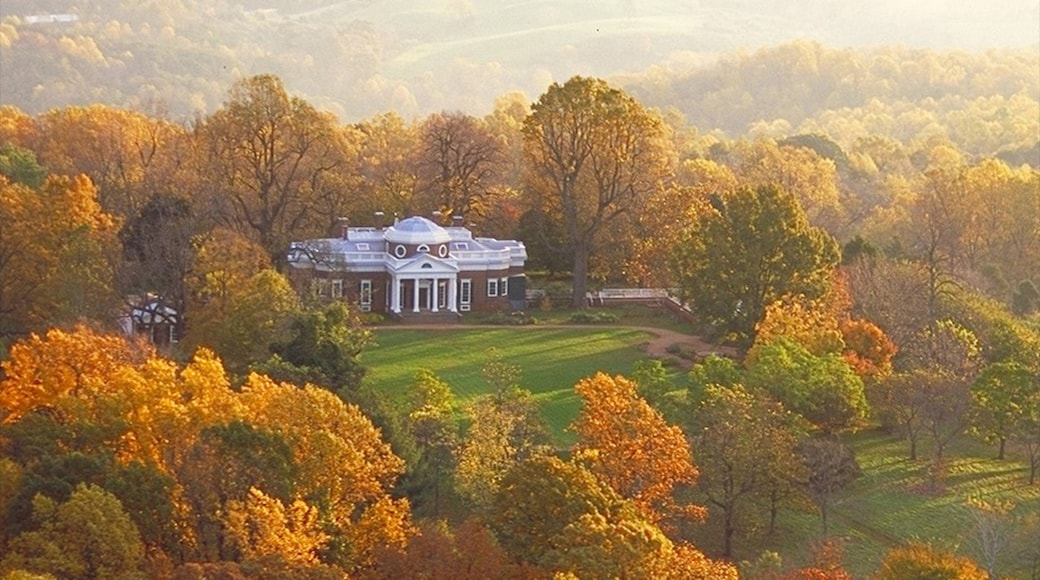 Charlottesville featuring a house, a garden and autumn colours