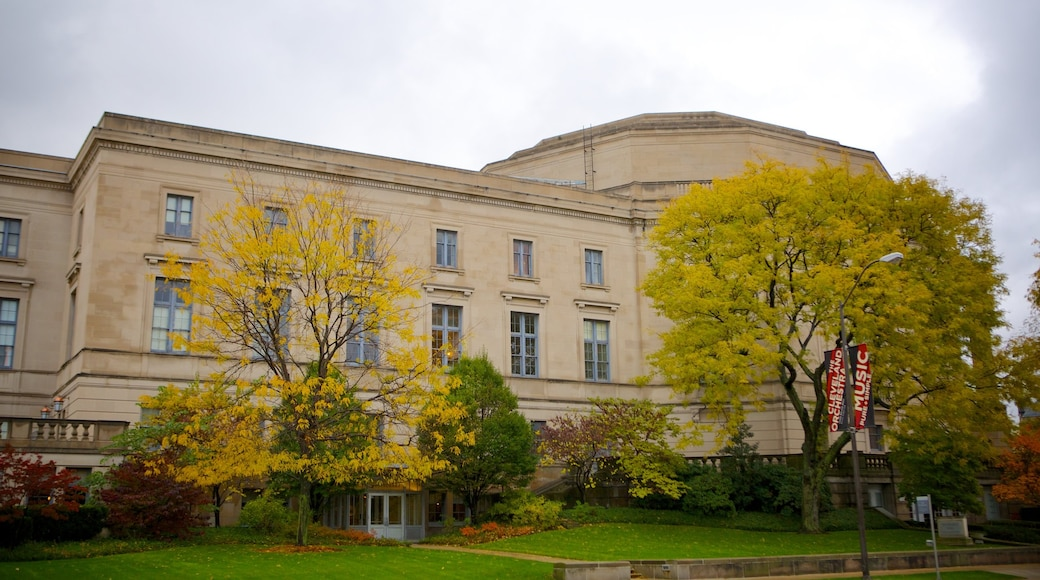 Severance Hall showing an administrative buidling and heritage architecture