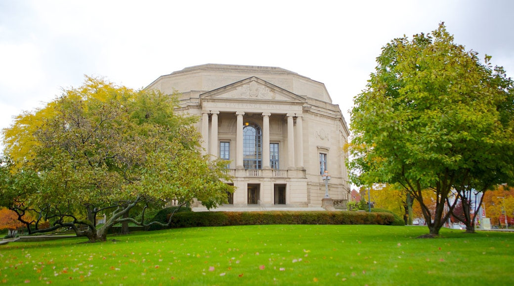 Severance Hall showing heritage architecture and an administrative buidling
