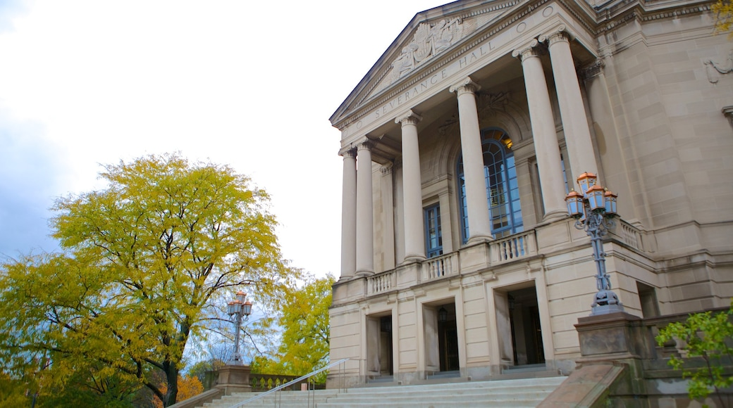 Severance Hall featuring heritage architecture and an administrative buidling