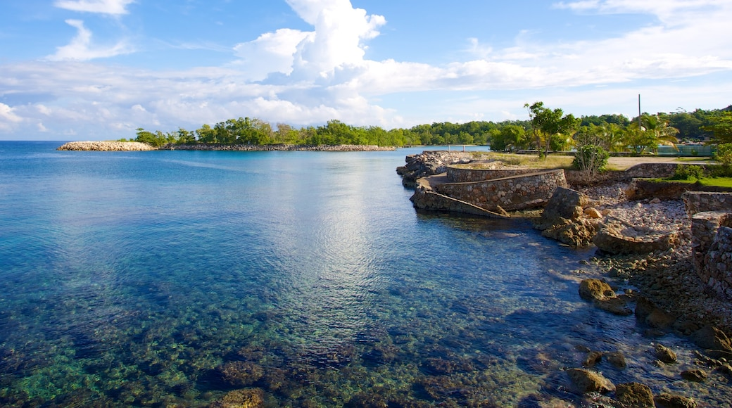 James Bond Beach which includes rugged coastline and tropical scenes