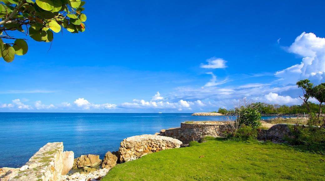 James Bond Beach showing rugged coastline