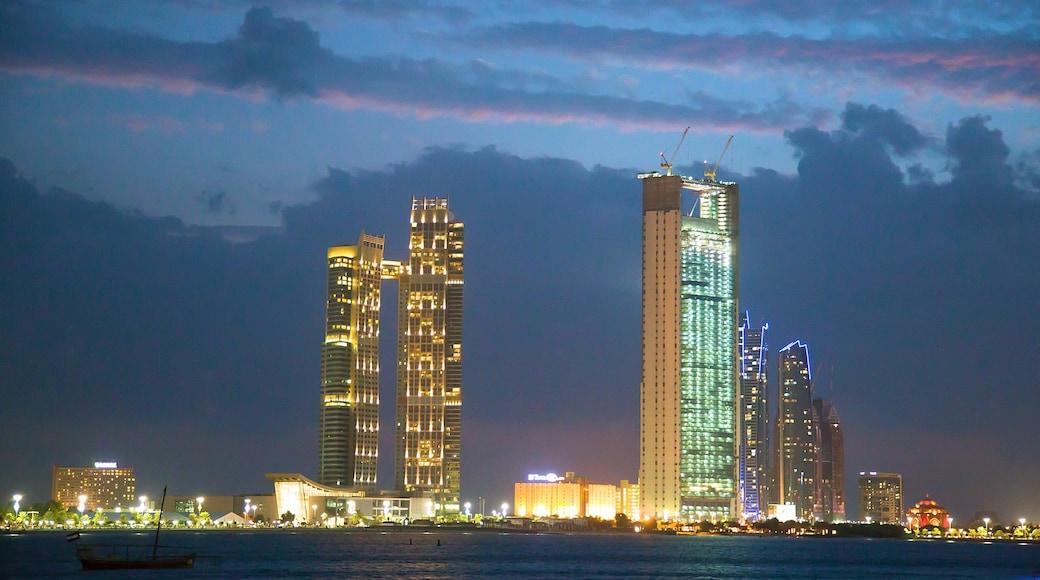Abu Dhabi Emirate showing night scenes, skyline and city views
