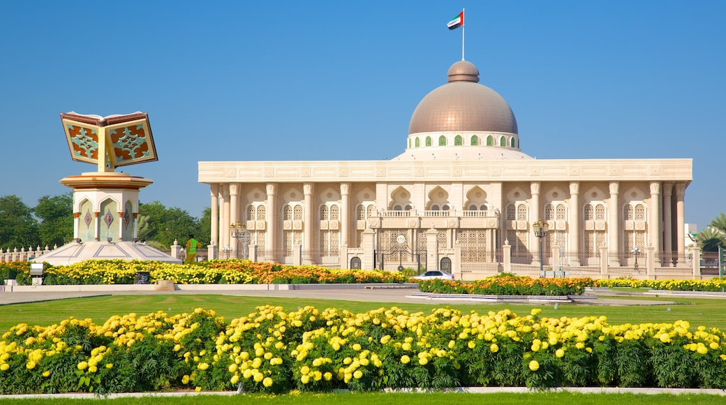 Sharjah showing heritage elements, flowers and heritage architecture