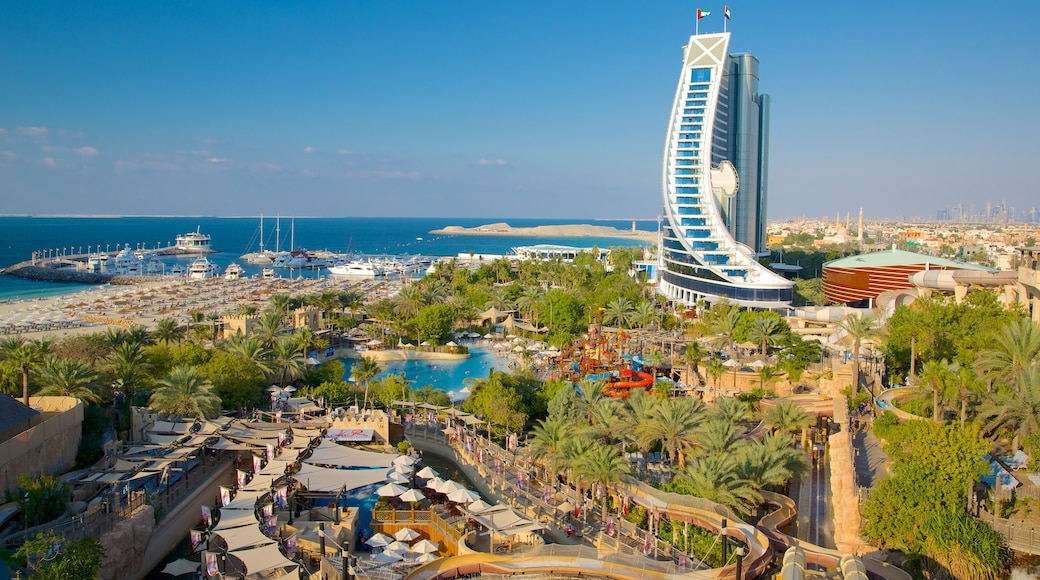 Wild Wadi Water Park showing a high-rise building, modern architecture and a bay or harbour