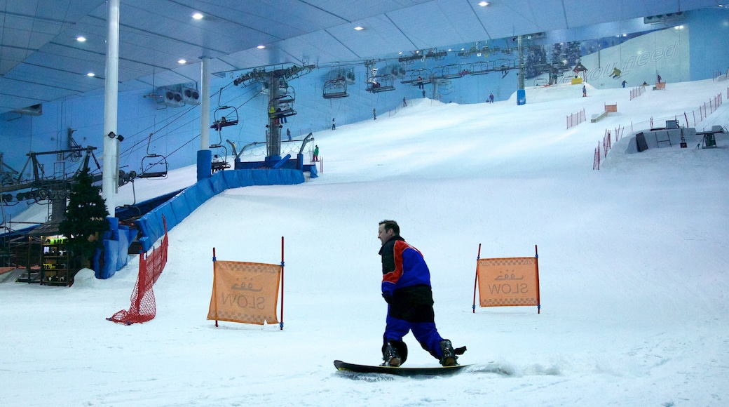 Ski Dubai showing snow, snowboarding and interior views