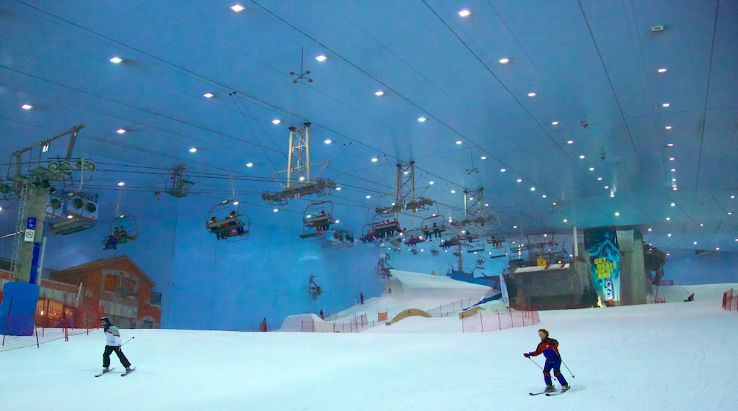 Ski Dubai which includes a gondola, snow skiing and interior views