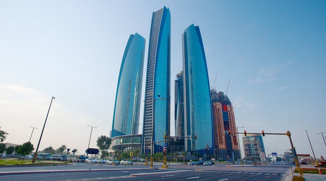 Abu Dhabi Emirate which includes city views, modern architecture and a city