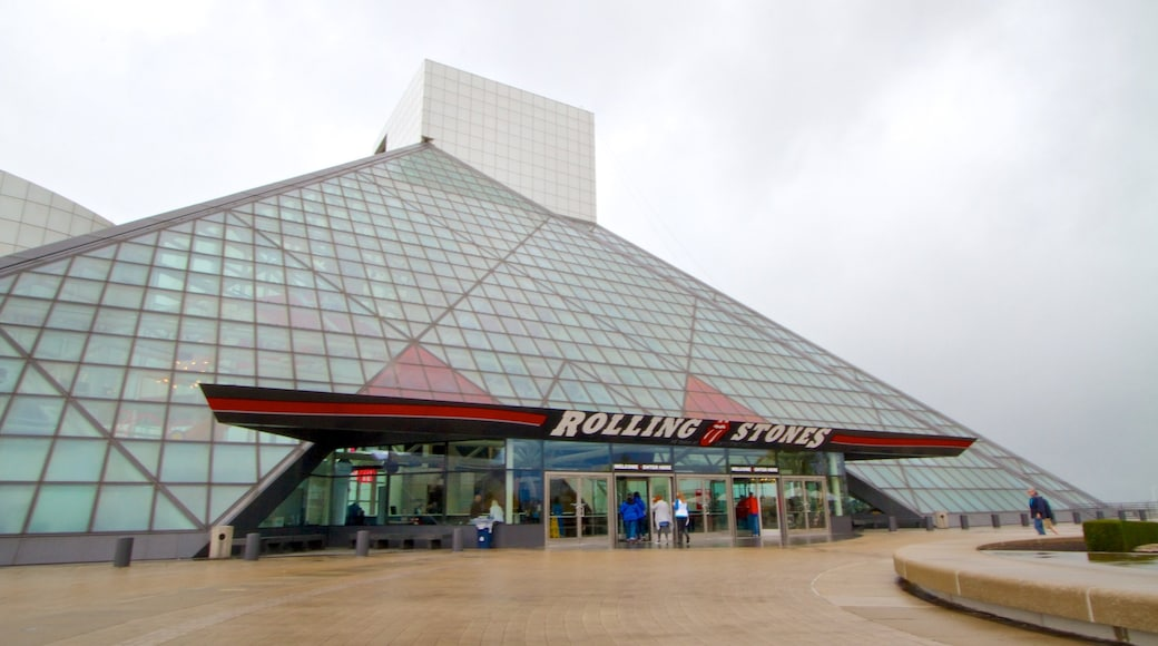 Rock and Roll Hall of Fame showing modern architecture and music