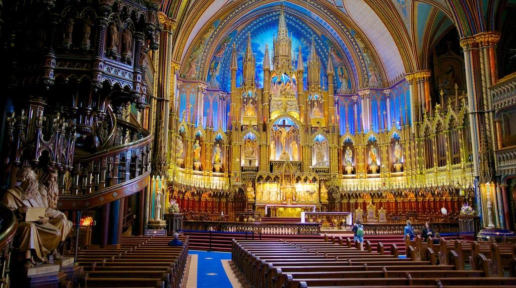 Notre Dame Basilica mostrando una iglesia o catedral, aspectos religiosos y vistas interiores