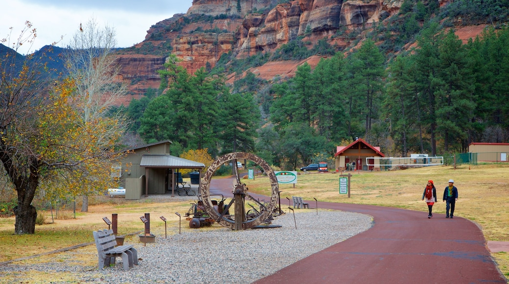 Slide Rock State Park featuring a gorge or canyon, a garden and outdoor art