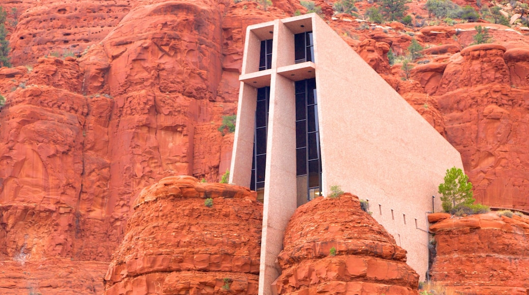 Chapel of the Holy Cross featuring a church or cathedral, a gorge or canyon and modern architecture