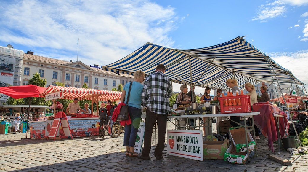 Vaasa which includes signage, street scenes and markets