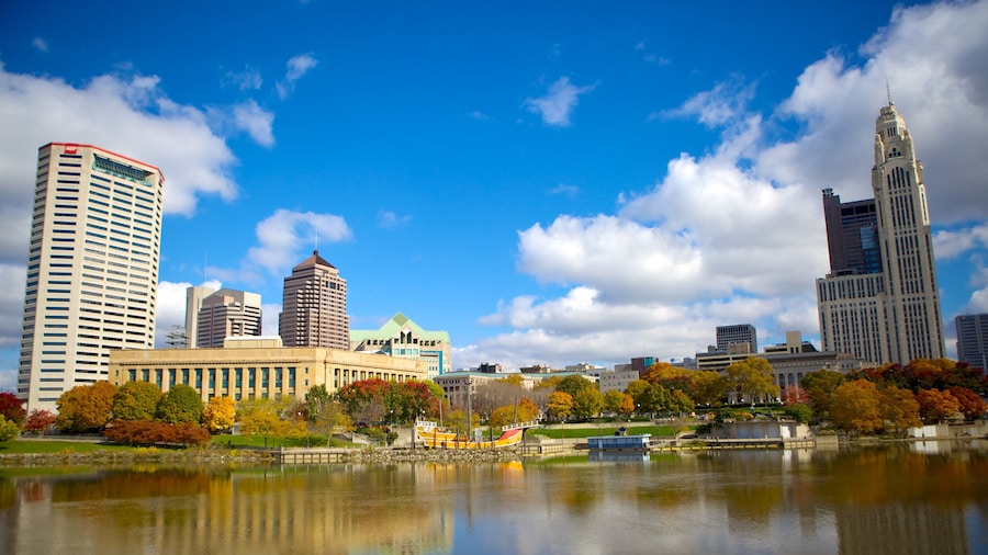Columbus showing a city, a pond and skyline