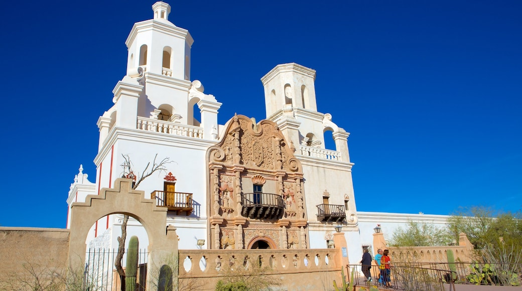 Mission San Xavier del Bac which includes heritage architecture and a church or cathedral