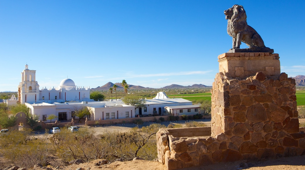 Mission San Xavier del Bac showing tranquil scenes, a statue or sculpture and a church or cathedral