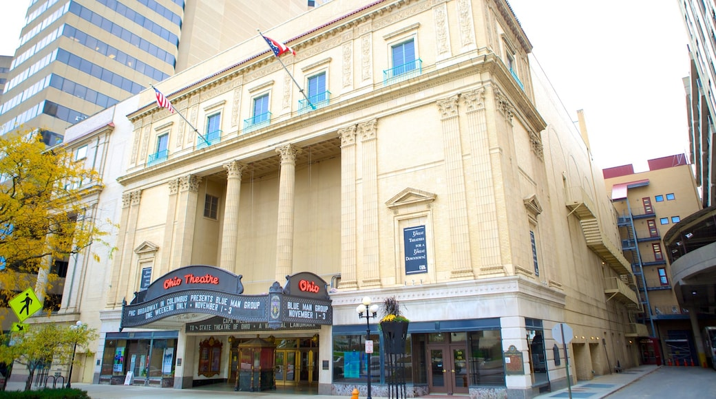 Ohio Theater featuring theater scenes, signage and heritage elements