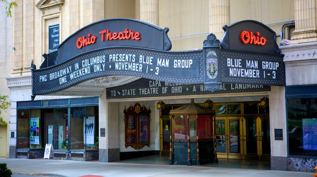 Ohio Theater which includes theater scenes and signage