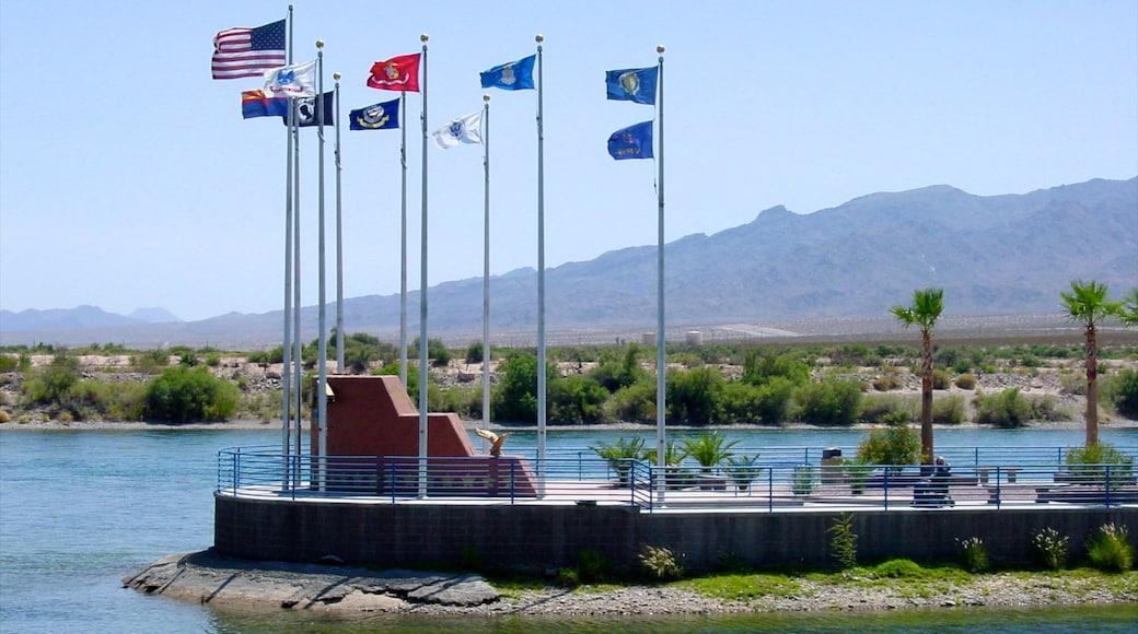 Bullhead City showing a lake or waterhole, views and a memorial