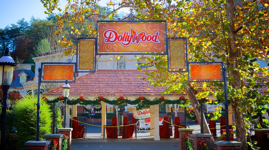 Dollywood which includes signage and rides
