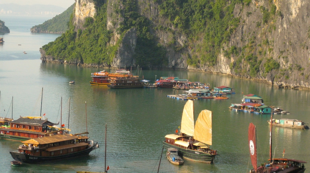 Halong Bay showing a bay or harbour, general coastal views and rocky coastline