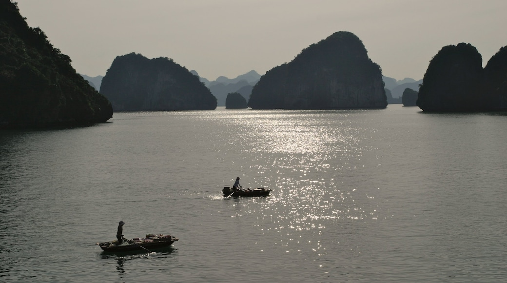 Halong Bay featuring kayaking or canoeing, a bay or harbour and rugged coastline