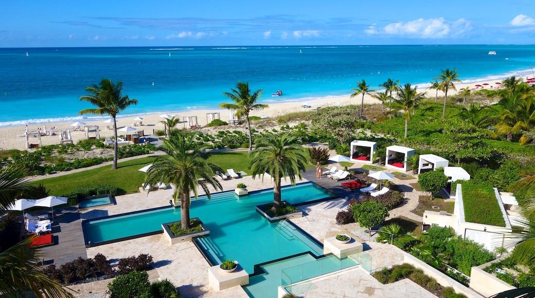 Grace Bay som inkluderar tropisk natur, en sandstrand och ett lyxhotell