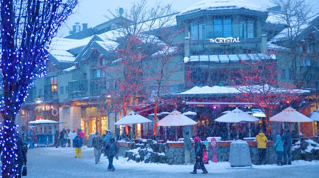 Whistler Ski Area which includes a city, street scenes and snow