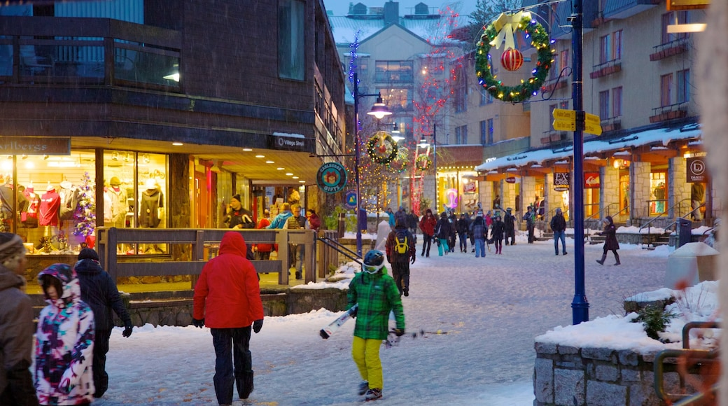 Whistler Ski Area showing a small town or village, snow and street scenes