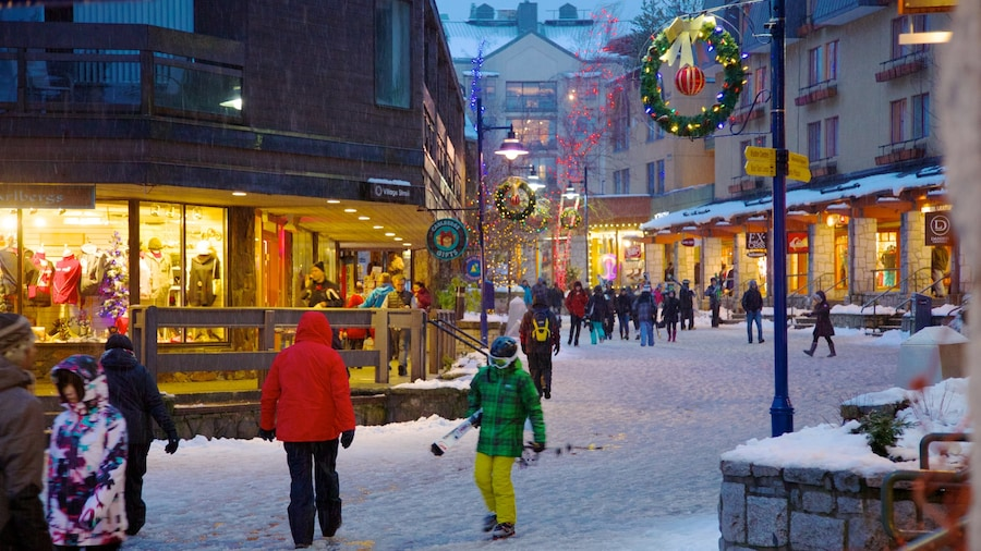Whistler Ski Area which includes street scenes, snow and a small town or village