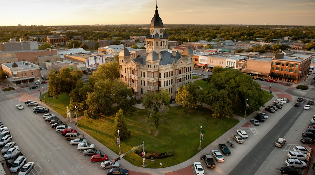 Denton which includes a sunset, heritage architecture and an administrative buidling