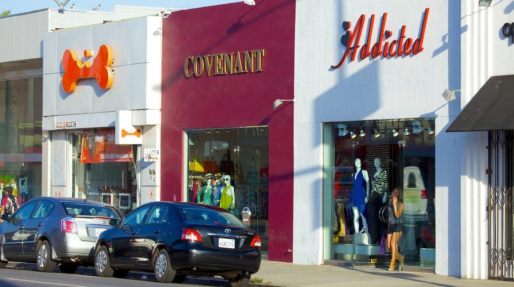 Melrose Avenue das einen Einkaufen, Fashion und Beschilderung