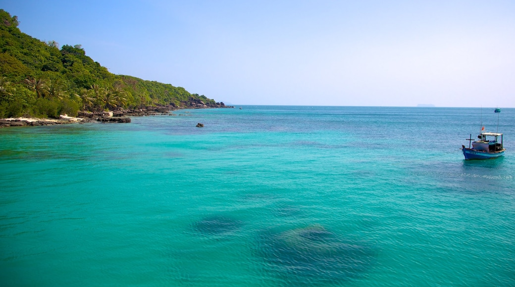Phu Quoc which includes tropical scenes, general coastal views and boating