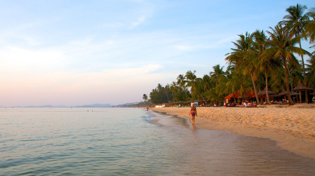Phu Quoc Beach featuring a sandy beach, landscape views and tropical scenes