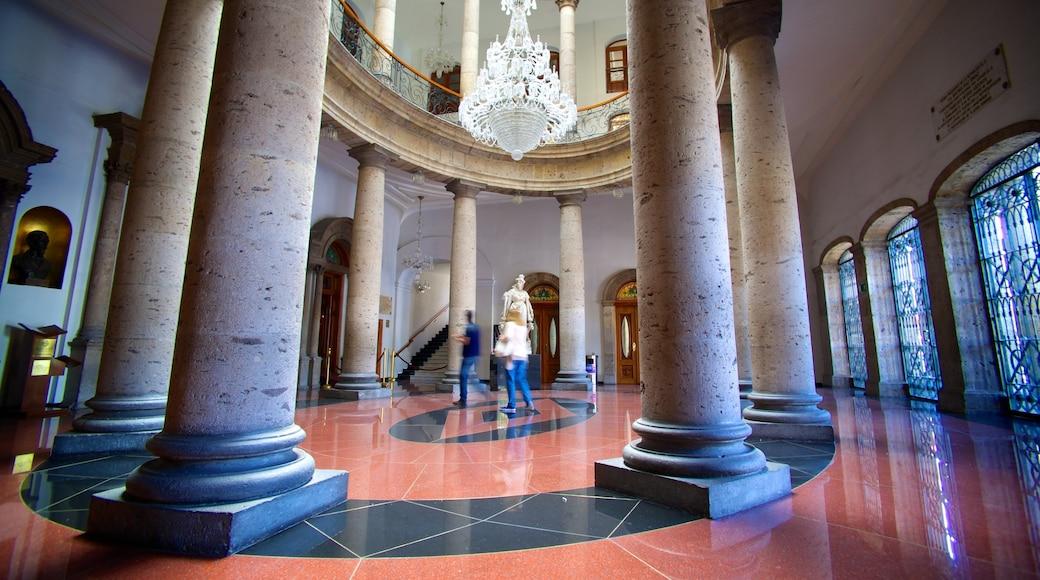 Degollado Theater featuring theater scenes, heritage architecture and interior views