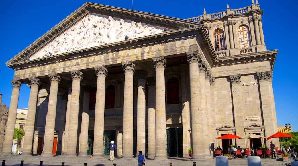 Degollado Theater featuring theater scenes, a city and heritage architecture