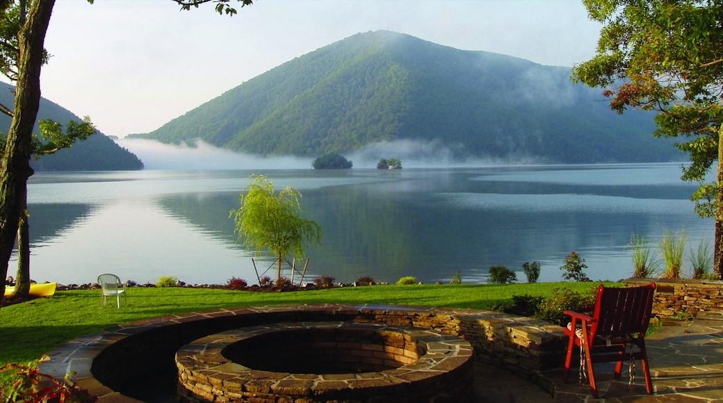 Roanoke mostrando montagna e lago o sorgente d\'acqua