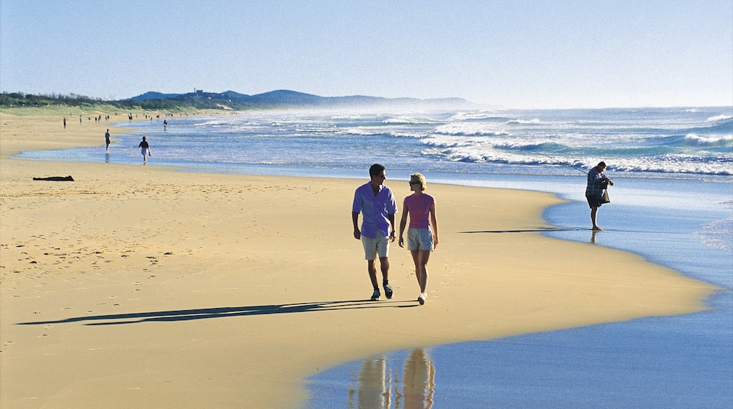Coolum Beach showing a sandy beach and landscape views as well as a couple