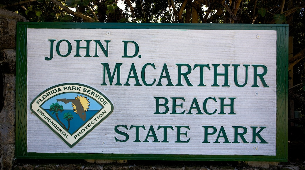John D. MacArthur Beach State Park which includes signage and a garden