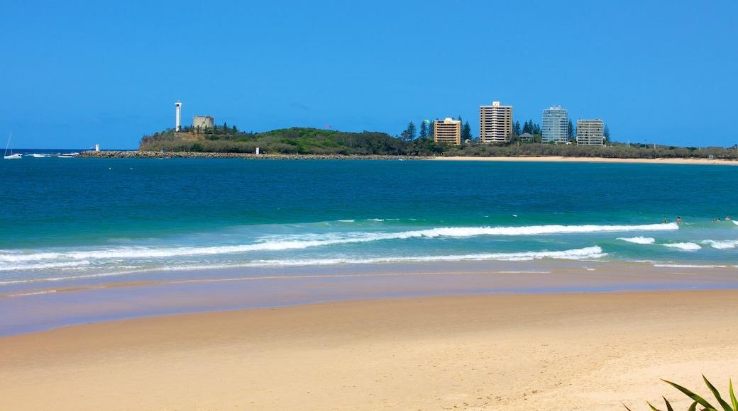 Mooloolaba showing a beach and a coastal town