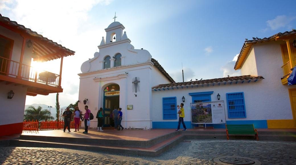 Pueblito Paisa som viser kirke eller katedral og religion
