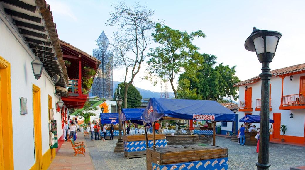 Pueblito Paisa som viser gatescener og marked