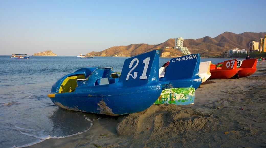 Rodadero Beach showing boating and a beach
